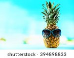 ripe juicy pineapple in sun... | Shutterstock . vector #394898833