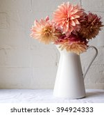 Coral Pink Dahlias In A White...