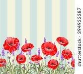 Pattern Of Poppy Flowers Over...