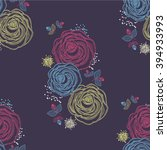 seamless floral pattern with... | Shutterstock .eps vector #394933993