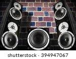 black music speakers against... | Shutterstock . vector #394947067