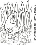 coloring pages. kind duck and... | Shutterstock .eps vector #394950073