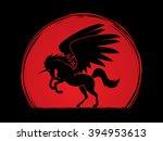 fly unicorn silhouette designed ...   Shutterstock .eps vector #394953613
