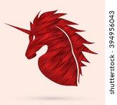 unicorn head designed using red ...   Shutterstock .eps vector #394956043