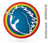 unicorn head designed on line...   Shutterstock .eps vector #394956133