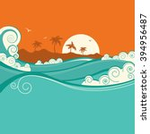 seaside background with blue... | Shutterstock . vector #394956487