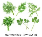 parsley and dill set on white... | Shutterstock . vector #39496570