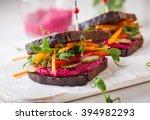 gluten free vegan sandwiches... | Shutterstock . vector #394982293
