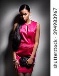 girl red dress studio | Shutterstock . vector #394983967