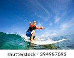 surfer with long white hair... | Shutterstock . vector #394987093
