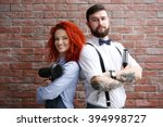 two professional hairdresser on ... | Shutterstock . vector #394998727