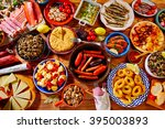 tapas from spain varied mix of... | Shutterstock . vector #395003893