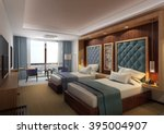 hotel  twin bed room 1 | Shutterstock . vector #395004907