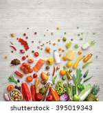 organic food background. studio ... | Shutterstock . vector #395019343