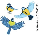 titmouse on white background  | Shutterstock .eps vector #395045923