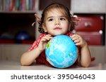 portrait of the cute little... | Shutterstock . vector #395046043