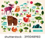 vector set with forest animals... | Shutterstock .eps vector #395048983