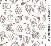 seamless pattern with beehive ... | Shutterstock .eps vector #395065447