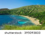 hanauma bay in oahu  hawaii.... | Shutterstock . vector #395093833
