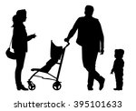 family with baby and pram on a... | Shutterstock . vector #395101633