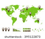 world map and graph bar... | Shutterstock .eps vector #395122873