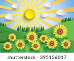 sunflower field with sunset... | Shutterstock .eps vector #395126017