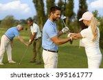 female golfer learning golfing  ... | Shutterstock . vector #395161777