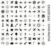 100 aviation icons set | Shutterstock .eps vector #395183563