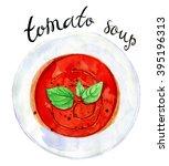 fresh tomato soup in a white... | Shutterstock . vector #395196313