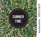 summer time poster. text with... | Shutterstock .eps vector #395211823