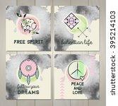 set of four bohemian cards....