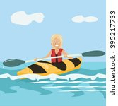 cartoon girl paddling a kayak | Shutterstock .eps vector #395217733
