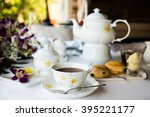 afternoon tea ceremony  beach... | Shutterstock . vector #395221177