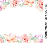 Stock photo spring watercolor flower border background with pink and red floral elements 395222743
