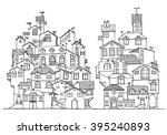 hand drawn doodle houses in... | Shutterstock .eps vector #395240893