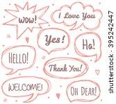 vector set of comic speech...   Shutterstock .eps vector #395242447