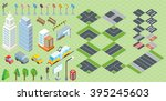 isometric part of the city... | Shutterstock .eps vector #395245603