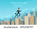 confident businessman walking... | Shutterstock .eps vector #395258797