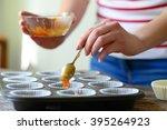 woman hand prepare healthy... | Shutterstock . vector #395264923