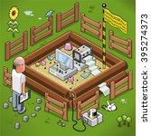 businessman looks at his virus... | Shutterstock .eps vector #395274373