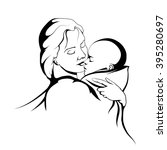 silhouette of a mother and her... | Shutterstock .eps vector #395280697