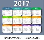 calendar 2017 year vector... | Shutterstock .eps vector #395285683