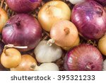 Bunch Of Colorful Garlic And...