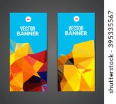 set of polygonal triangular... | Shutterstock .eps vector #395335567