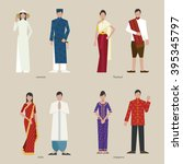 traditional clothing vietnam... | Shutterstock .eps vector #395345797