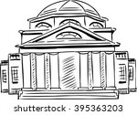 outlined exterior front view on ... | Shutterstock .eps vector #395363203
