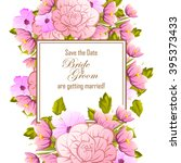 invitation with floral... | Shutterstock . vector #395373433