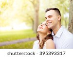 young couple walking  hyde park ... | Shutterstock . vector #395393317