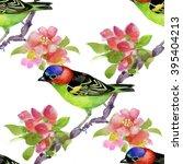 bird illustration on watercolor ... | Shutterstock . vector #395404213