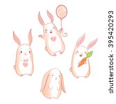 cute bunnies set isolated on... | Shutterstock . vector #395420293